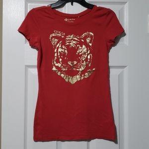 Guess Women's Tee Shirt Gold Foil S…